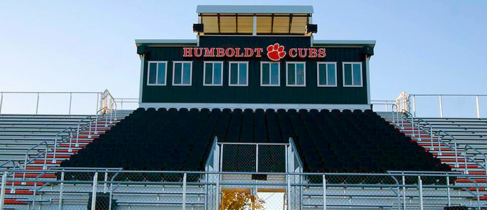 Post frame provided a quick cost effective method to build a press box for one high school.